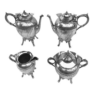 Antique Empire Style Meriden Co. Silver Plated Tea/Coffee Pieces - Set of 4 For Sale