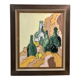 Mid Century Cubist Style Still Life of Bottles Painting For Sale