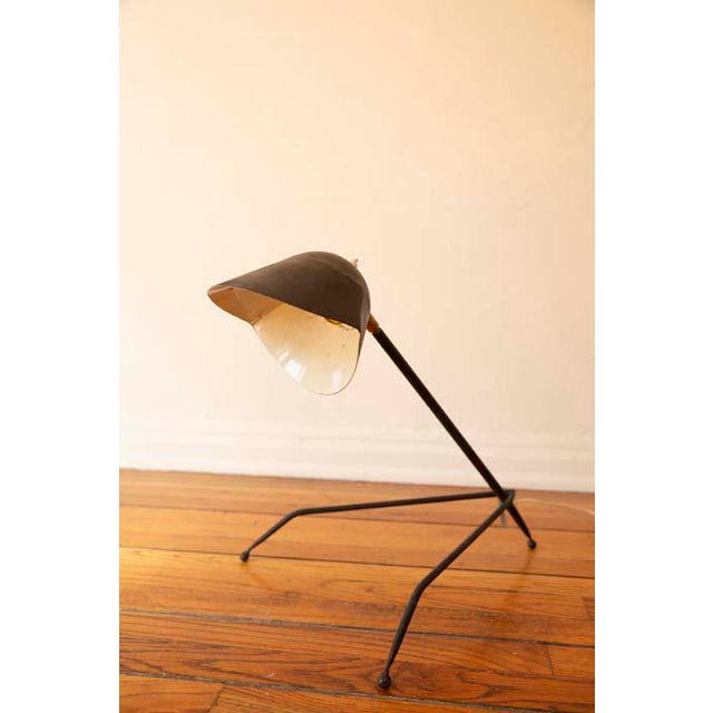 Black Antique French Tripod Desk Lamp in Serge Mouille Style For Sale - Image 8 of 8