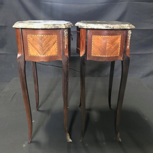 Wood French Vintage Mahogany & Satinwood Inlay Night Stands With Marble Tops -A Pair For Sale - Image 7 of 12