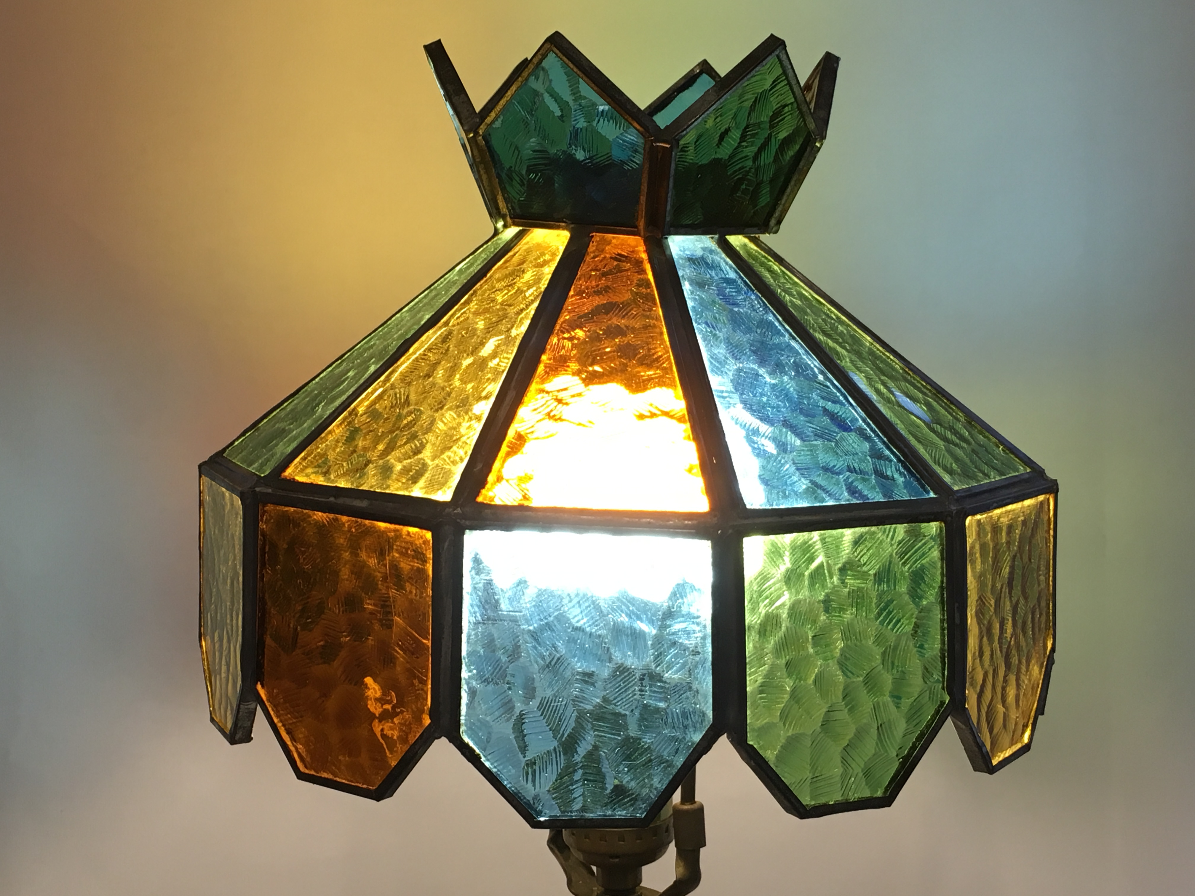 Vintage Multi Colored Stained Glass Lamp Shade   Image 2 Of 11