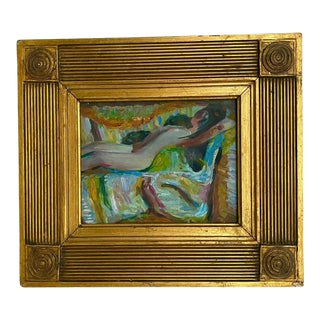 1970s Expressionist Style Figurative Nude Oil Painting, Framed For Sale
