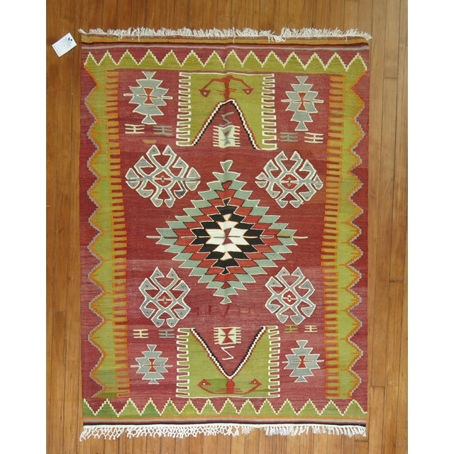 Hand-knotted One of a kind turkish kilim flat-weave.