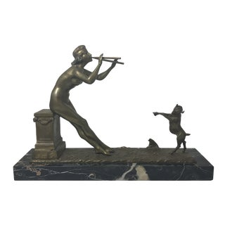 Henri Fugere Art Deco Bronze Sculpture on Marble Base For Sale