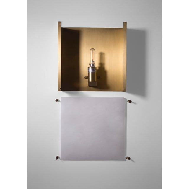 Orphan Work Modern Contemporary 000a Sconce in Alabaster and Brushed Brass by Orphan Work For Sale - Image 4 of 5