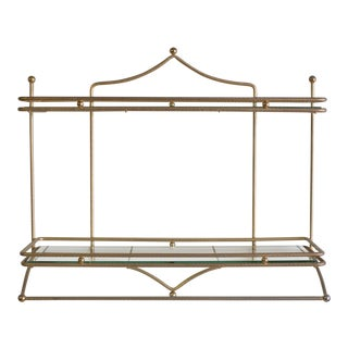 Mid-Century Brass and Glass Hanging Wall Shelf