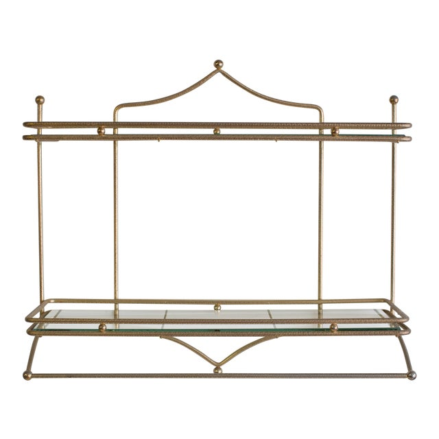 Mid-Century Brass and Glass Hanging Wall Shelf For Sale