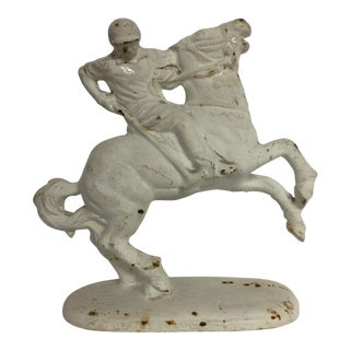 Vintage 1940s Painted Cast Iron Polo Player on Horse For Sale