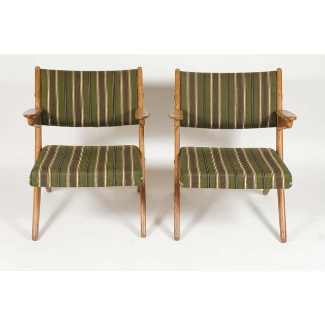 Folke Ohlsson Pair Scandinavian Modern Scissor or Sawbuck Arm Chairs in Manner of Hans Wegner or Folke Ohlsson For Sale - Image 4 of 11
