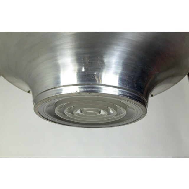 Art Deco Aluminum Dish Pendants W/ Unique Glass Diffusers (2 Pairs Available) For Sale - Image 10 of 13