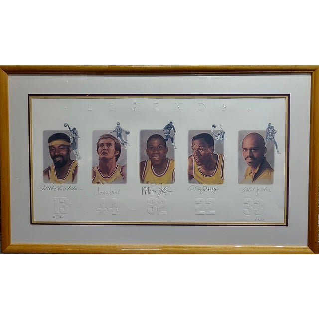 Los Angeles Lakers -Legends-Magic,West,Jabbar,Chamberlain-Signed Lithograph Color Ann Neilsen 39x22 lithograph featuring...