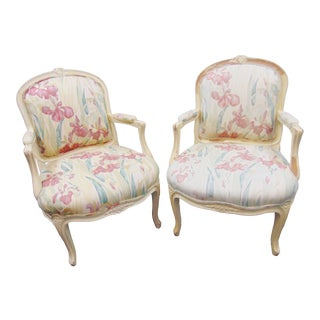 Louis XV Style Upholstered Armchairs - a Pair For Sale