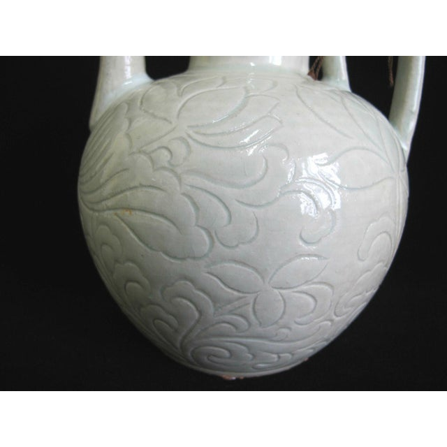 Chinese Chinese Celadon Green Glaze Pottery Wine Jug Pot W/Lotus Leaf Floral Design For Sale - Image 3 of 8