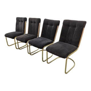 Modern Brass Cantilever Dining Chairs - Set of 4 For Sale