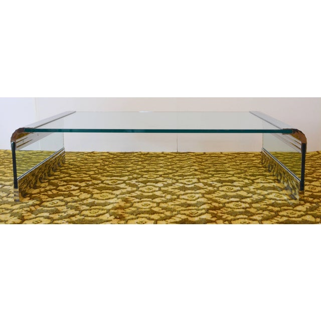 1970s Large Chrome & Glass Leon Rosen Pace Collection Waterfall Cocktail Table 1970's For Sale - Image 5 of 11