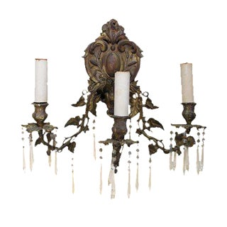 Ornate Bronze Rococo Wall Sconce For Sale