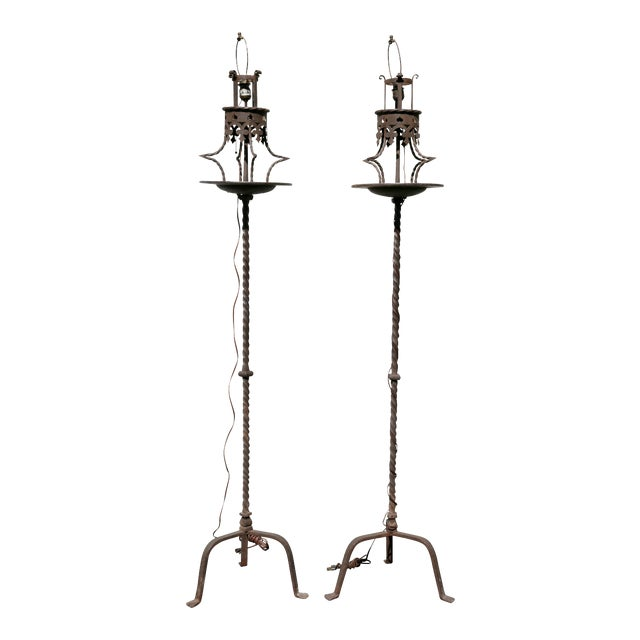 Pair of Italian Wrought Iron Torcheres For Sale