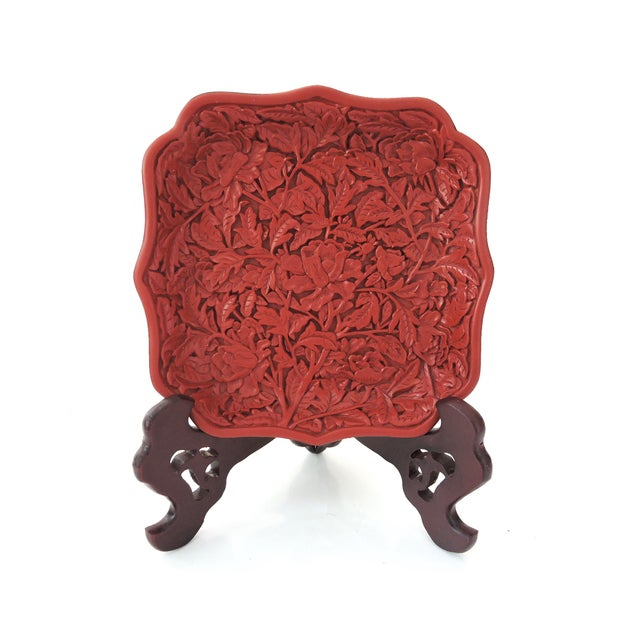 Red Cinnabar Tray/Catchall & Rosewood Stand - Image 2 of 8