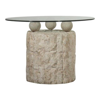 Post Modern Demilune Mactan Stone Side Table For Sale