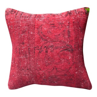 Overdyed Red Turkish Rug Pillow For Sale