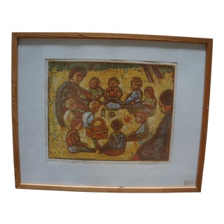"""Early 20th Century Antique Groth Jensen """"Vuggestue På Besøg"""" Lithograph Print For Sale"""
