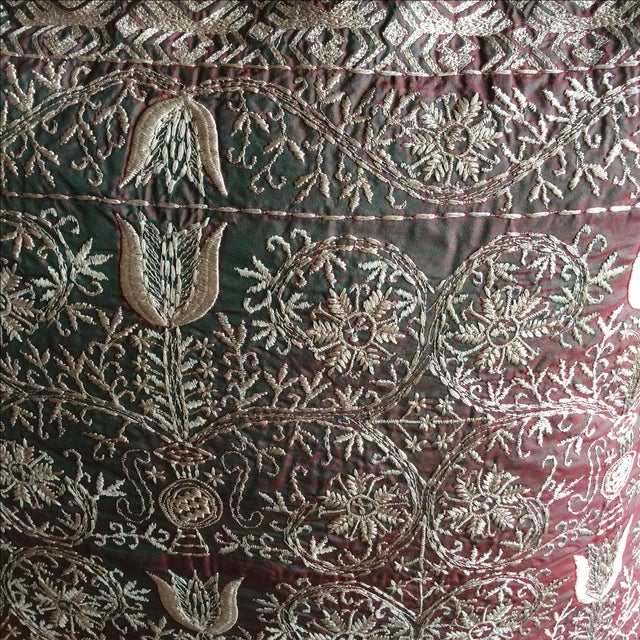 Asian Luxury Silk Emnroidered Decorative Chikan Pillow For Sale - Image 3 of 5