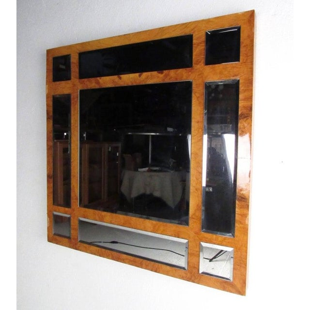 Vintage Modern Burlwood Mirror in the Style of Milo Baughman For Sale - Image 11 of 11
