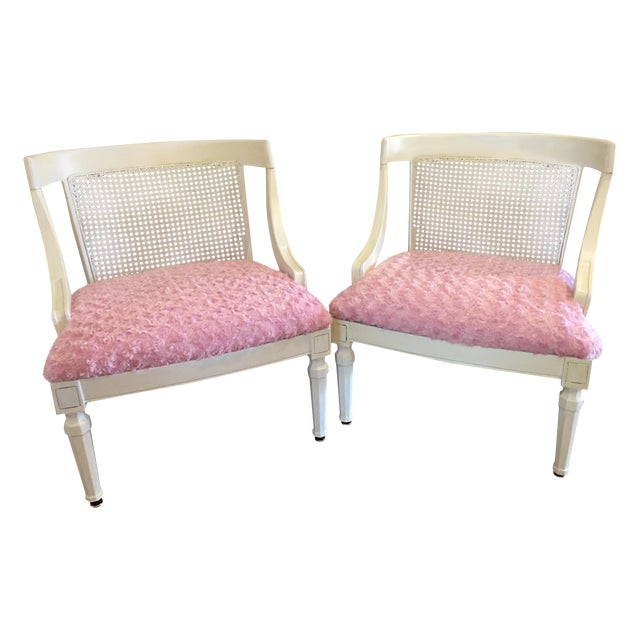 Vintage Pink Textured Rosebud Chairs - A Pair - Image 1 of 5