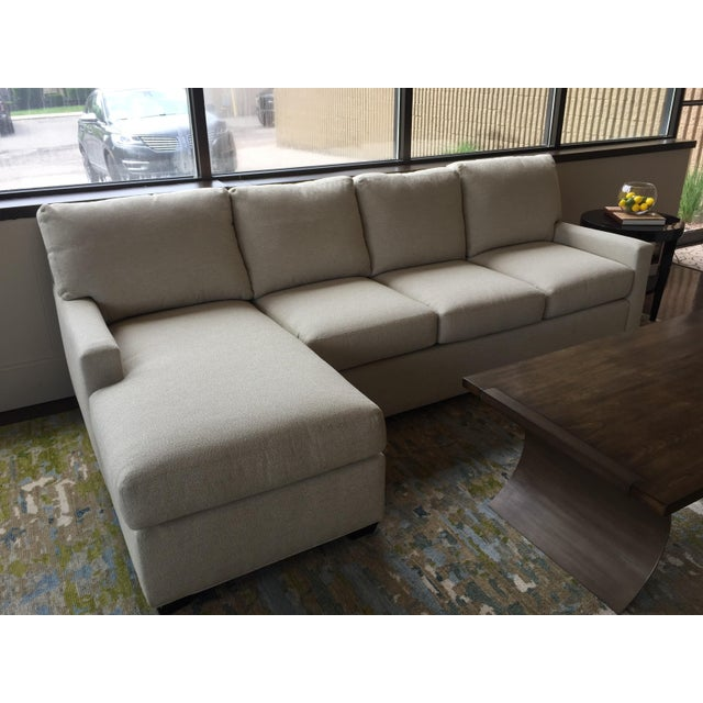 Transitional Almond Upholstered 2-Pc. Sectional For Sale In Detroit - Image 6 of 6