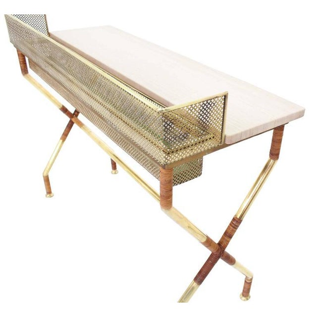 Gold Rare X-Base Brass and Marble-Top Console Table with Planter For Sale - Image 8 of 9