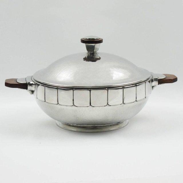 Stunning embossed polished pewter tureen, covered dish by H. J. Swiss Pewter. Elegant modernist shape with detailed...