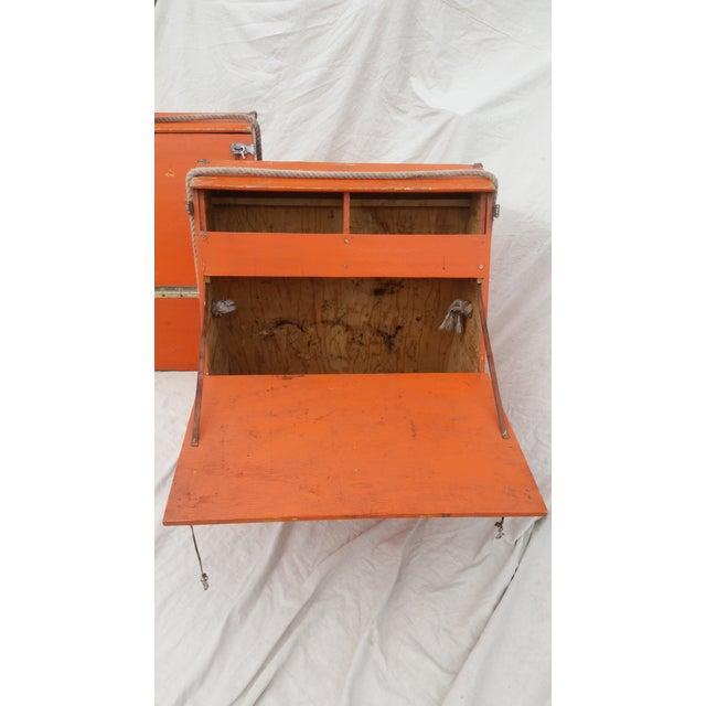 Wood Vintage Western Orange Wood Horse Panniers From a Colorado Ranch - a Pair For Sale - Image 7 of 10
