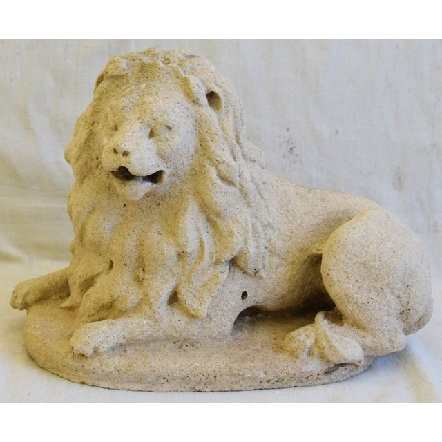 Antique French Sandstone Lion Statue Figure For Sale - Image 12 of 13