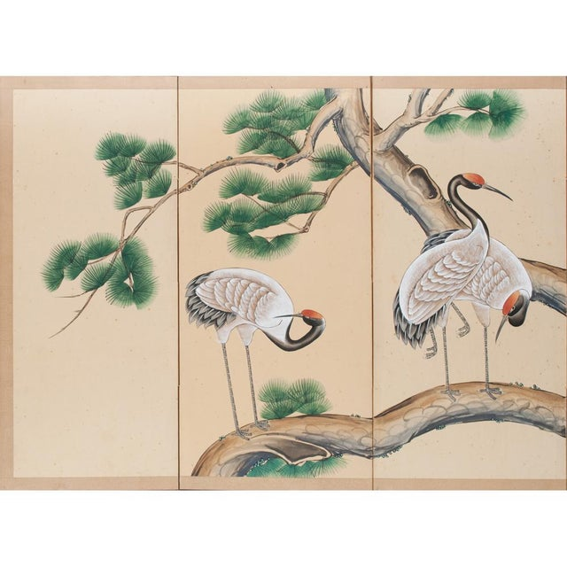 Exquisite Antique Japanese 4-Panel Byobu (Screen), depicting 3 red-crowned cranes on a pine tree. Superb artwork quality....