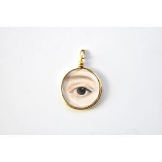Contemporary Lover's Eye Painting by S. Carson in an Antique French Pendant Locket- Double Sided Preview
