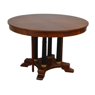 """Ethan Allen Medallion Collection 46"""" Round Cherry Dining Table With 2 Leaves For Sale"""