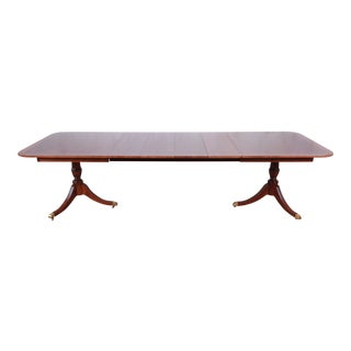 Kindel Furniture Georgian Mahogany Double Pedestal Extension Dining Table, Newly Restored For Sale