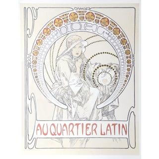 """Alphonse Mucha, """"Au Quartier Latin"""", Art Nouveau Lithograph Poster For Sale"""