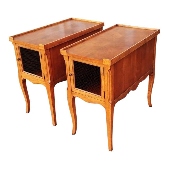 1980s French Walnut End Tables - a Pair For Sale