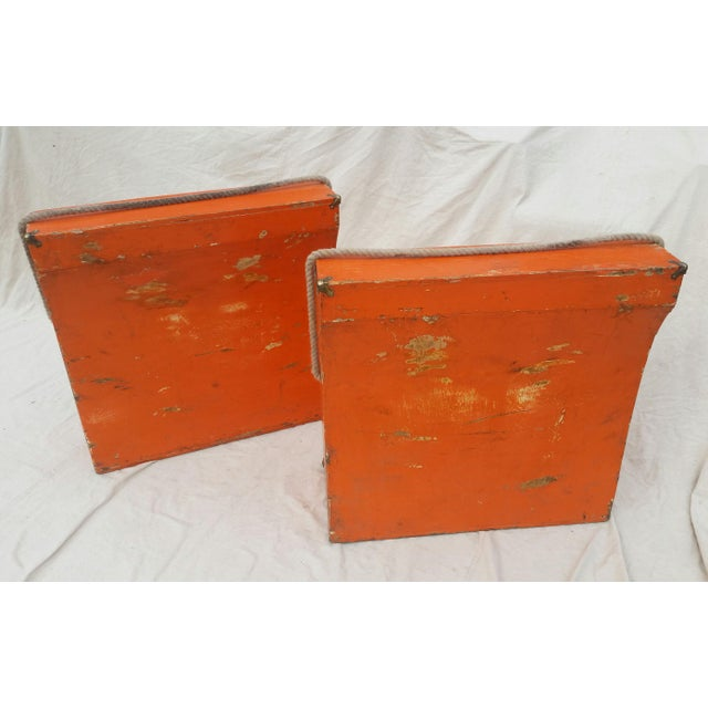 Vintage Western Orange Wood Horse Panniers From a Colorado Ranch - a Pair For Sale - Image 9 of 10