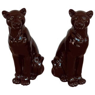Pair of Italian Porcelain Seated Black Panthers For Sale