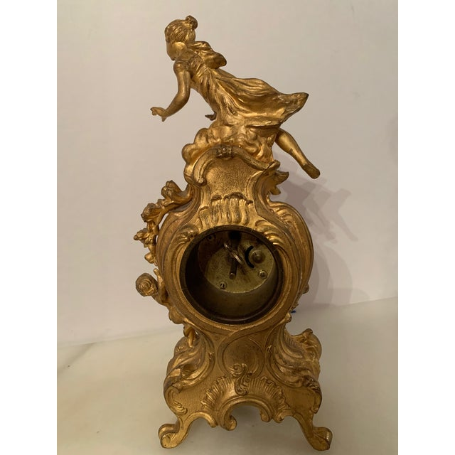 Antique Benedict mfg.co. Louis XIV Style Gilt Gold Novelty Clock For Sale - Image 10 of 13
