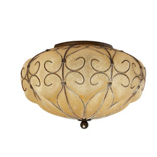 Italian Frosted Amber Glass Flush Mount For Sale
