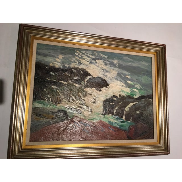 Framed Seascape Painting 'After the Blow' For Sale - Image 4 of 8