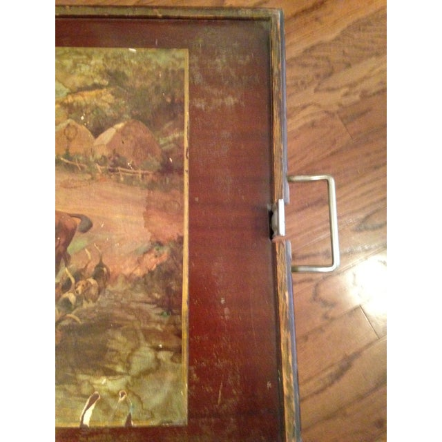 English Traditional Vintage Hunting Scene Folding Tray Table For Sale - Image 3 of 8