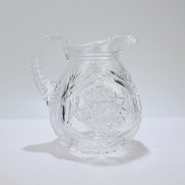 Fine Vintage Cut Glass Pitcher with a Narrow Body For Sale - Image 9 of 13