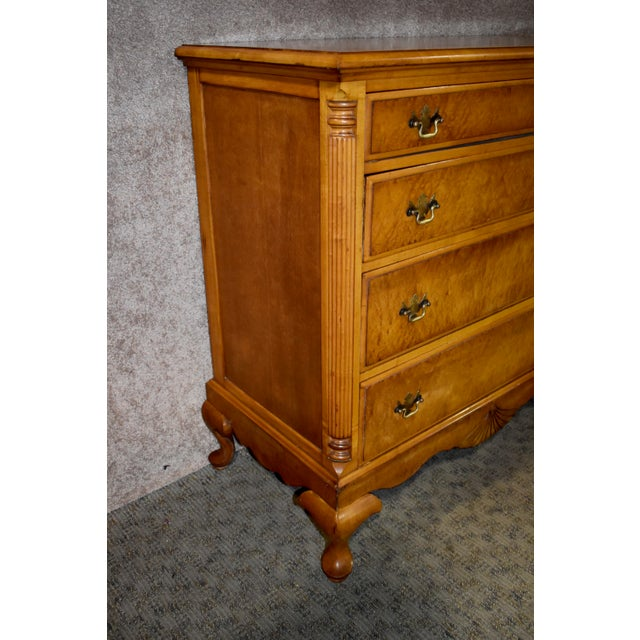 1950's Antique Birds Eye Maple Queen Anne Style Chest For Sale - Image 9 of 13