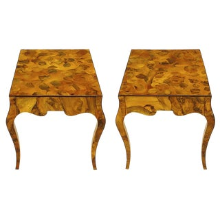 Pair of Italian Oyster Burl Cabriole Leg End Tables For Sale