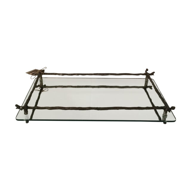 Mirrored Silver Faux Bois Tray - Image 1 of 6