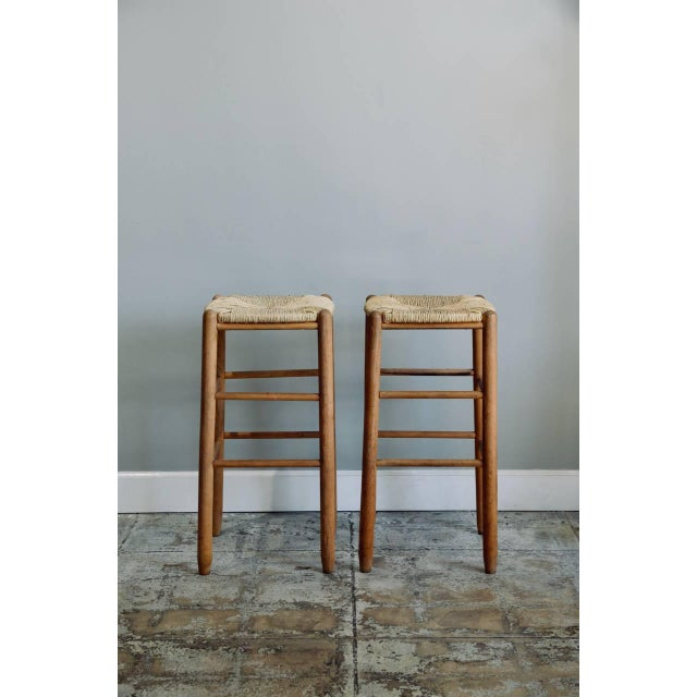 Pair of Rush Bar Stools in the Style of Charlotte Perriand For Sale In Los Angeles - Image 6 of 6